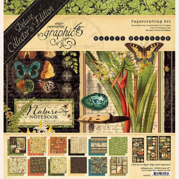 Papir blok 12x12 mm fra Graphic 45 - Nature Notebook - Deluxe Collector's Edition 4502093