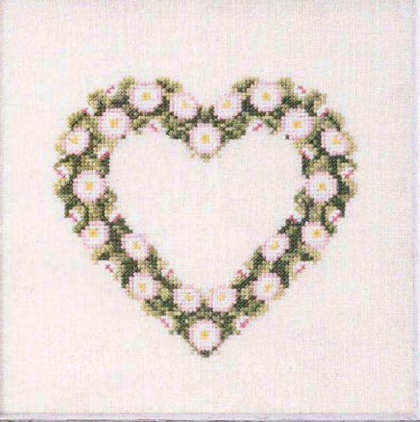 Søde korsstingsbroderier med blomster i hjerte til nålepuder eller projektpose fra Oehlenschläger - 65171 Bellishjerte