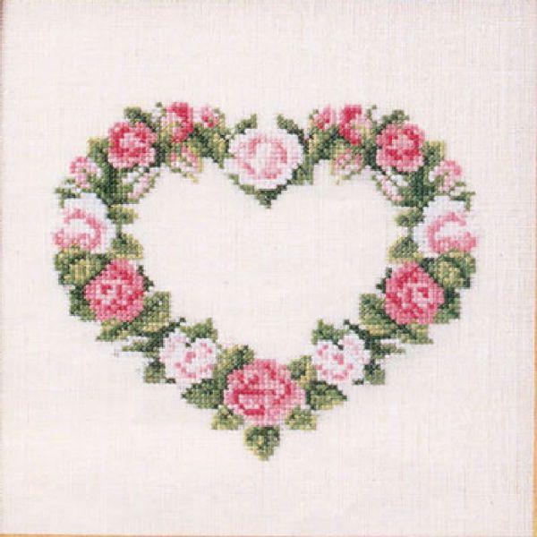 Billede af Hjerte broderi - Rosa roser 65175