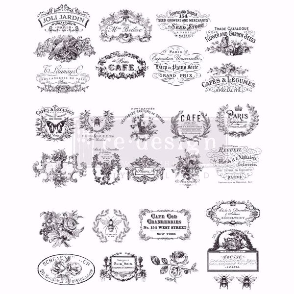 Re-design with Prima - Classic Vintage Labels  62 x 78 cm Decor Transfer - 646486