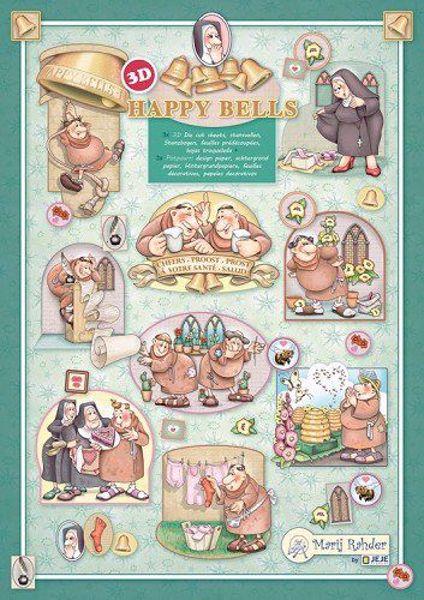 3d Klippeark fra Marij Rahder til scrapbooking og kort - Happy Bells - Nonner og munke