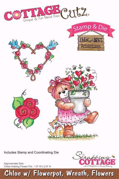 Chloe w/ Flowerpot, Wreath, Flowers standsejern til scrapbooking - CCS-027 - Chloe and Ben's Adventures