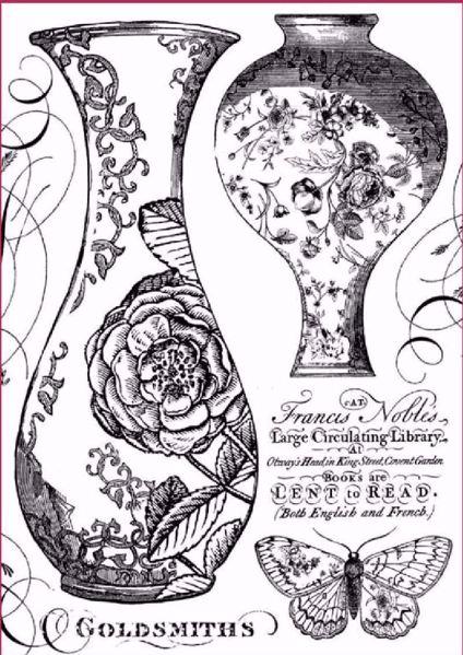 Stamperia Ris papir til decoupage scrapbooking og kort - DFSA4303 - Vaser i sort og hvid