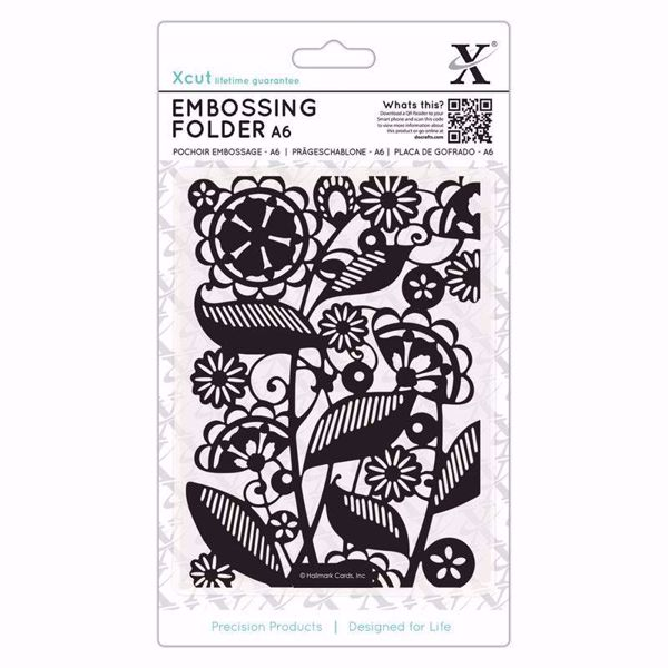 Folk Florals -  embossing folder fra X-cut, XCU515191