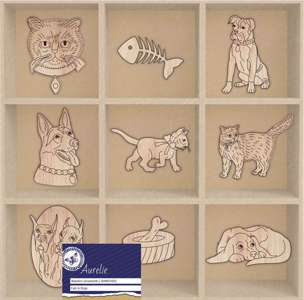 Dekorations hunde og katte af træ fra  Aurelia - AUWO1003