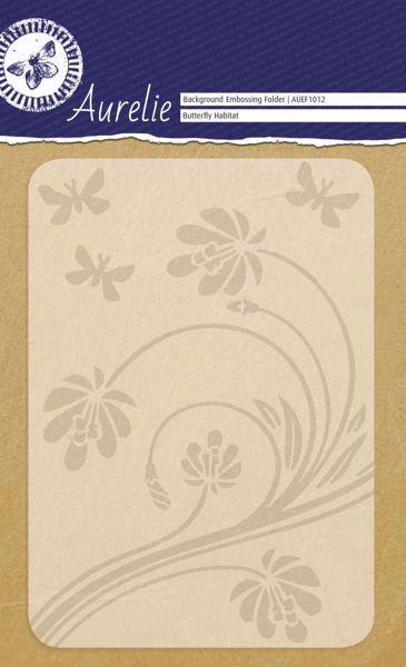 Blomst og sommerfugle embossing folder fra Aurelie - AUEF1012