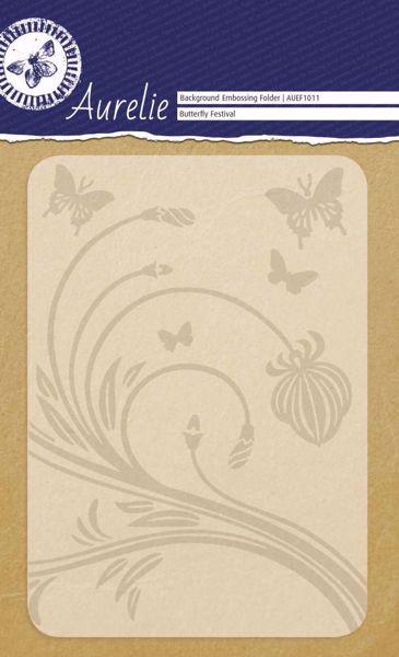 Blomst og sommerfugle embossing folder fra Aurelie - AUEF1011