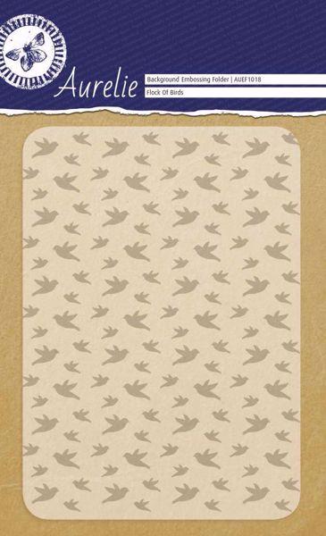 Fugle i flok embossing folder fra Aurelie - AUEF1018