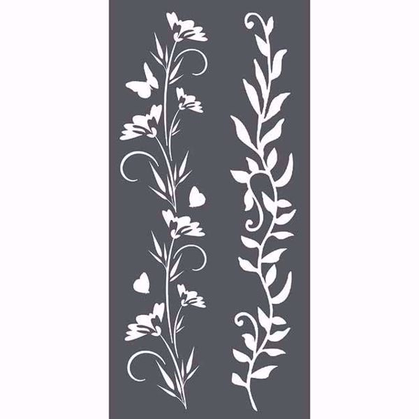 Borders Flowers & Leaves - KSTDL25 mask, stencil fra Stamperia