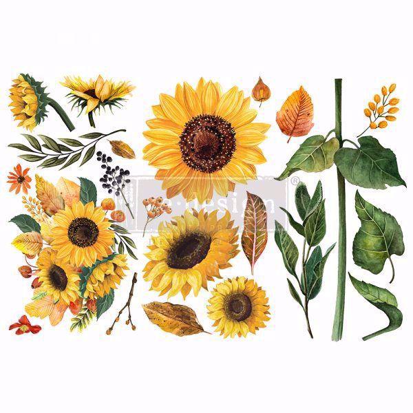 Re-design with Prima - Sunflower Afternoon 3 stk af 15 x 30 cm Decor Transfer - 653491