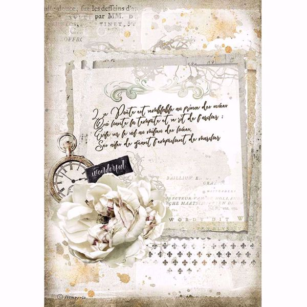 Stamperia Ris papir til decoupage scrapbooking og kort - DFSA4557 - Romantic Journal Maniscript and Clock