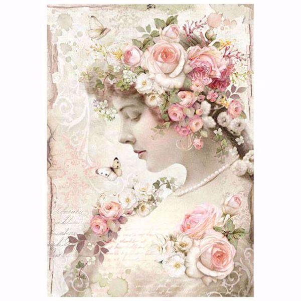 Stamperia Ris papir til decoupage scrapbooking og kort - DFSA4224 - Floral Profile Roses