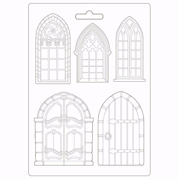 Stamperia Soft Maxi Mould A4 Sleeping Beauty Doors and Windows - K3PTA498