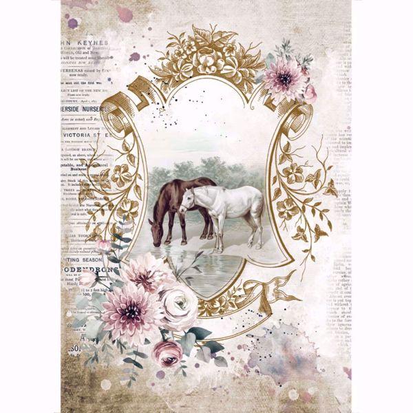 Stamperia Ris papir til decoupage scrapbooking og kort - DFSA4582 - Romantic Horses Lake