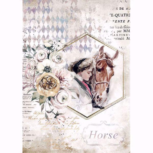 Stamperia Ris papir til decoupage scrapbooking og kort - DFSA4580 - Romantic Horses Lady Frame