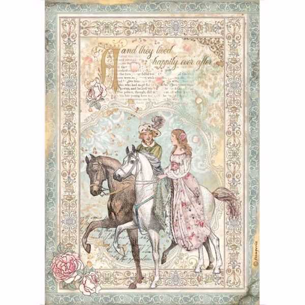 Stamperia Ris papir til decoupage scrapbooking og kort - DFSA4575 - Sleeping Beauty Prince on Horse