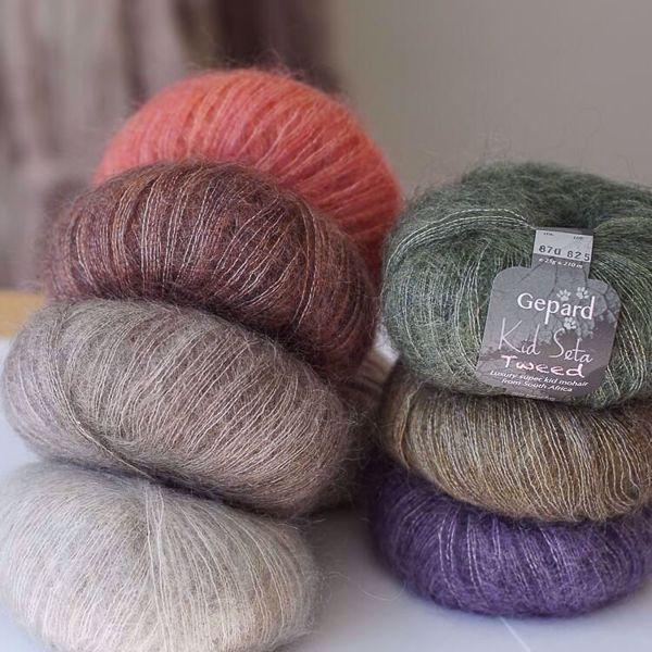 Super lækker og blød Kid Seta Tweed kidmohair og silke fra Gepard Garn